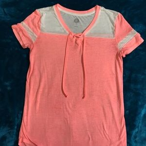 Neon Coral & White Lace-up Baseball Tee